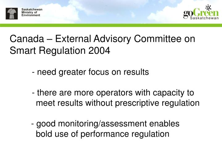 Canada – External Advisory Committee on Smart Regulation 2004