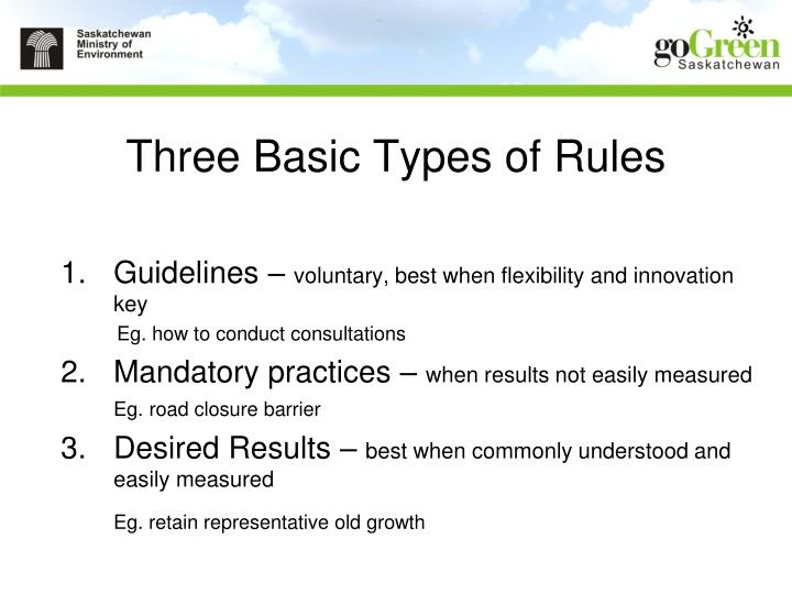 Three Basic Types of Rules