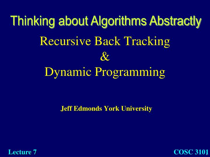 Recursive back tracking dynamic programming