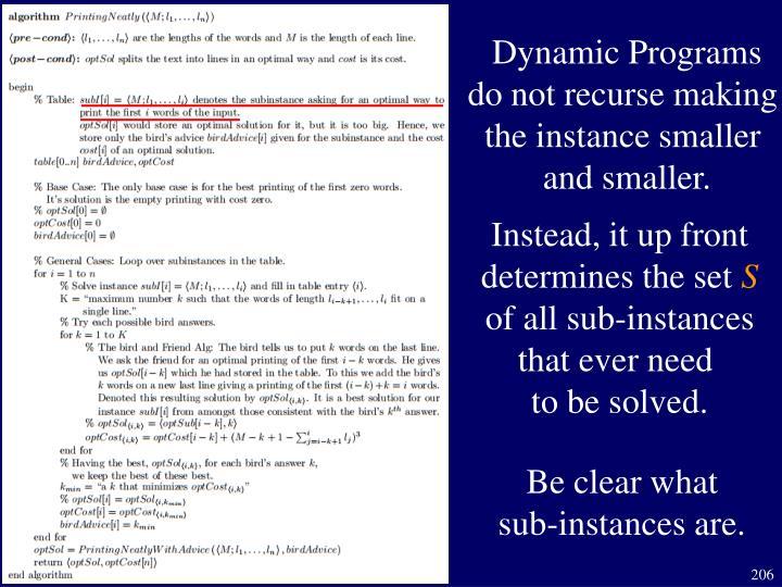 Dynamic Programs