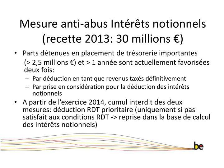 Mesure anti-abus Intérêts notionnels (recette 2013: 30 millions €)
