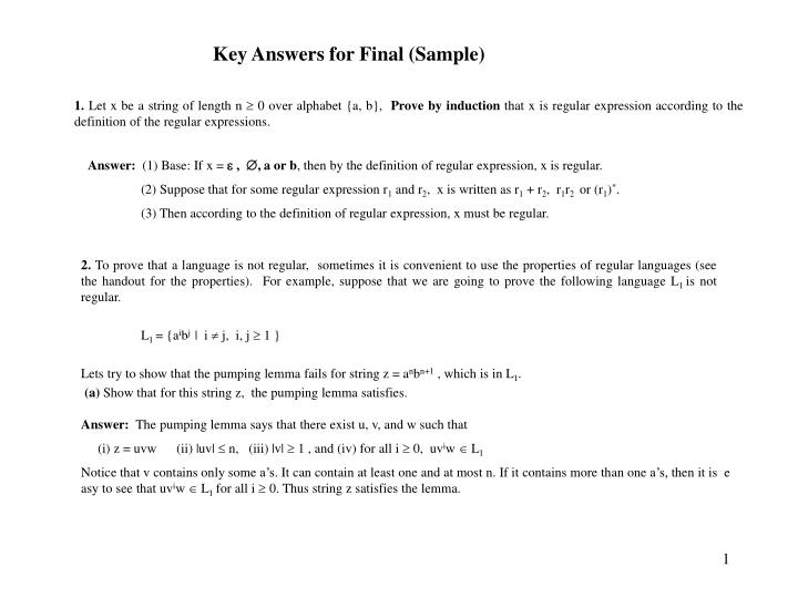 Key answers for final sample