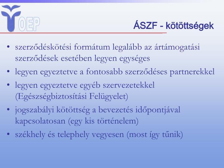 ÁSZF - kötöttségek