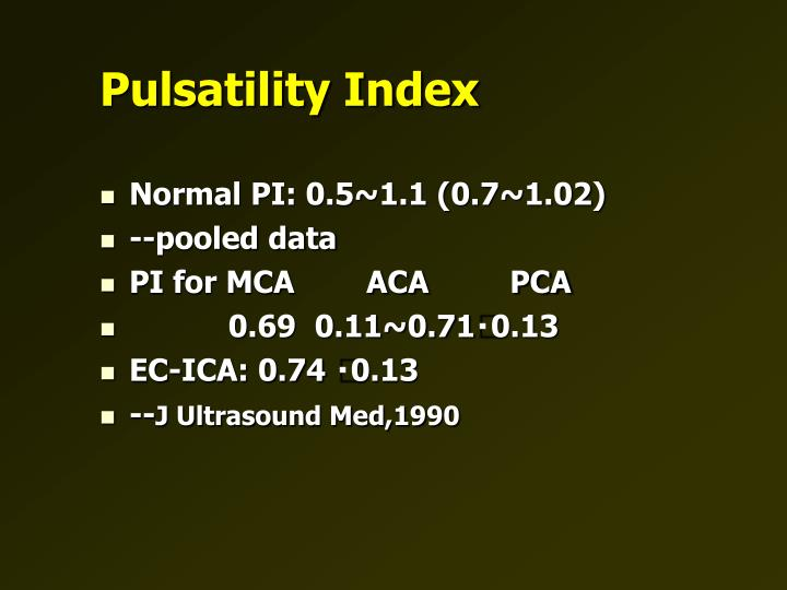 Pulsatility Index