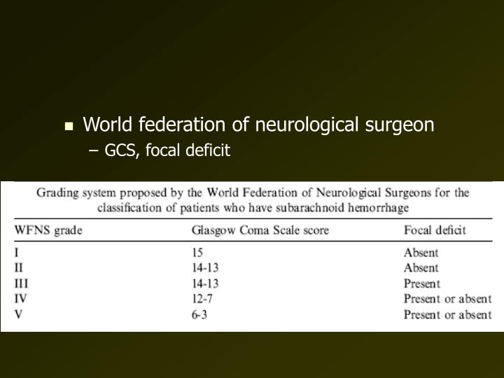 World federation of neurological surgeon