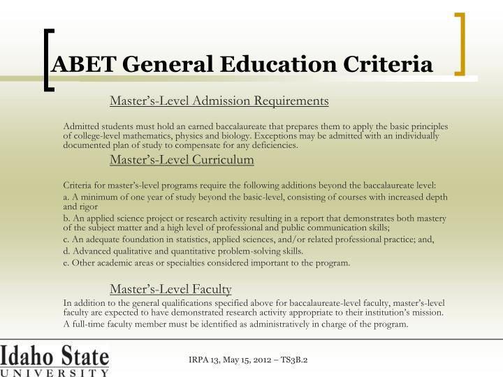 ABET General Education Criteria