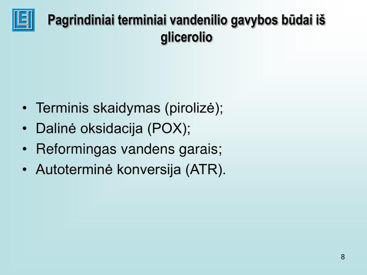 Pagrindiniai terminiai vandenilio gavybos būdai iš glicerolio