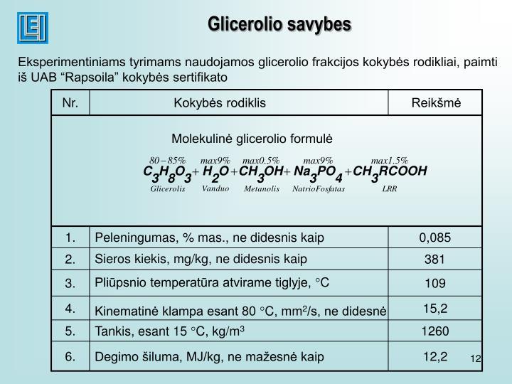 Glicerolio savybes