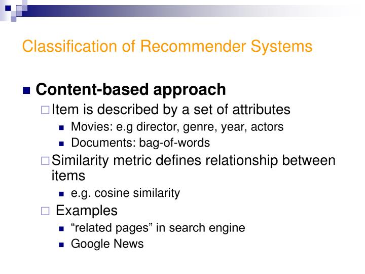 Classification of Recommender Systems