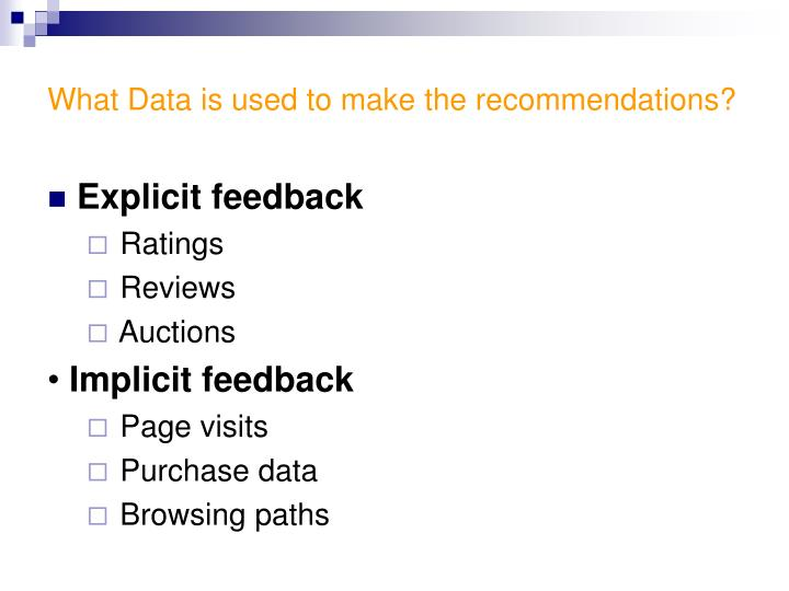 What data is used to make the recommendations