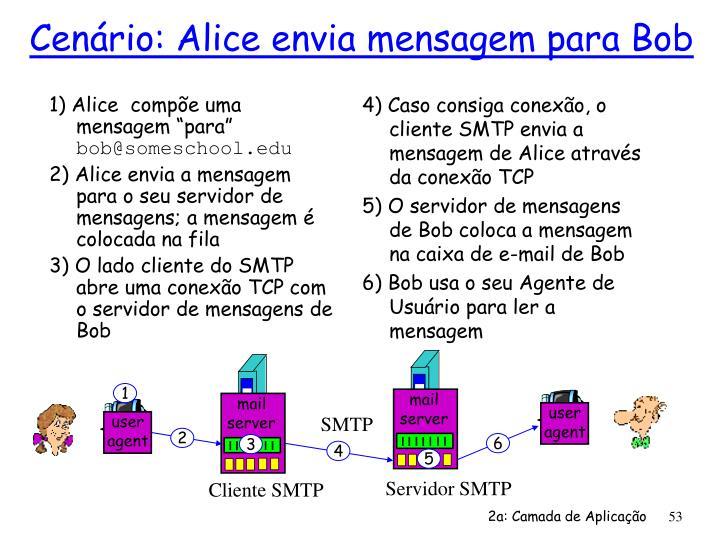 """1) Alice  compõe uma mensagem """"para"""""""