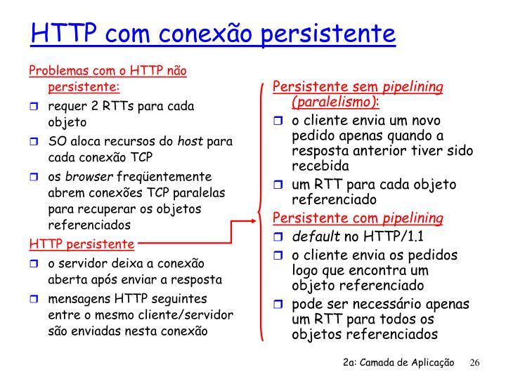 Problemas com o HTTP não persistente: