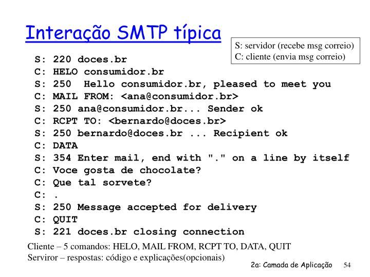Interação SMTP típica