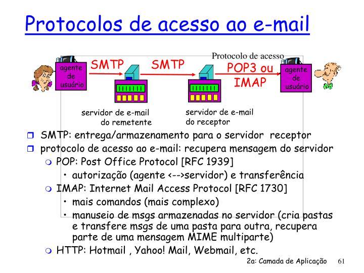 SMTP: entrega/armazenamento para o servidor  receptor