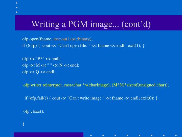 Writing a PGM image... (cont'd)