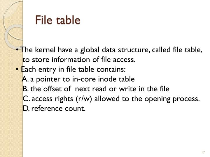 File table