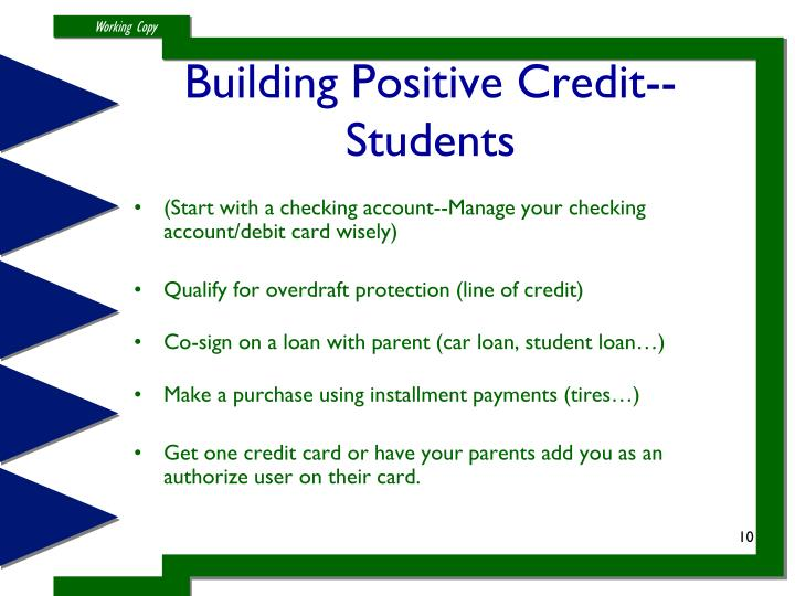 Building Positive Credit--Students