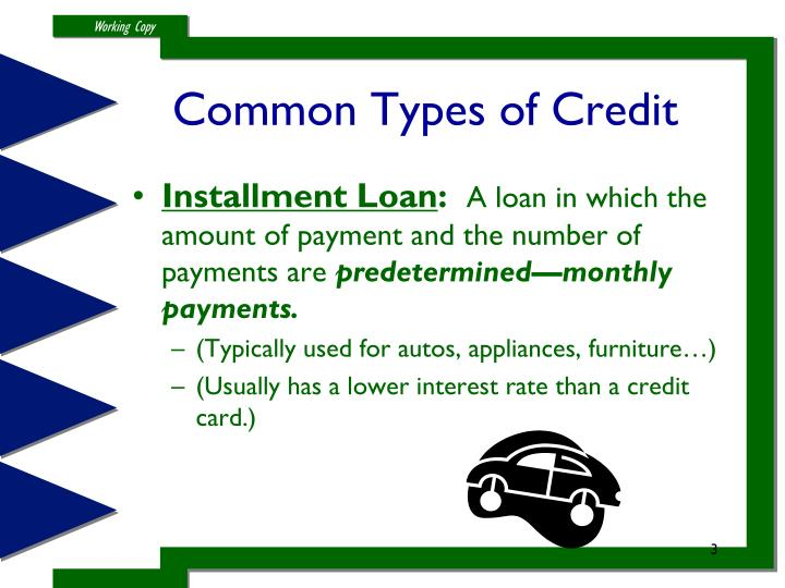 Common types of credit