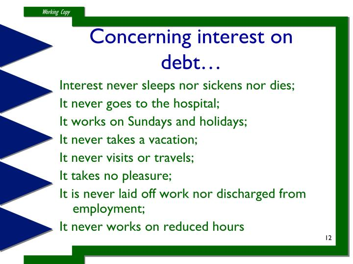 Concerning interest on debt…