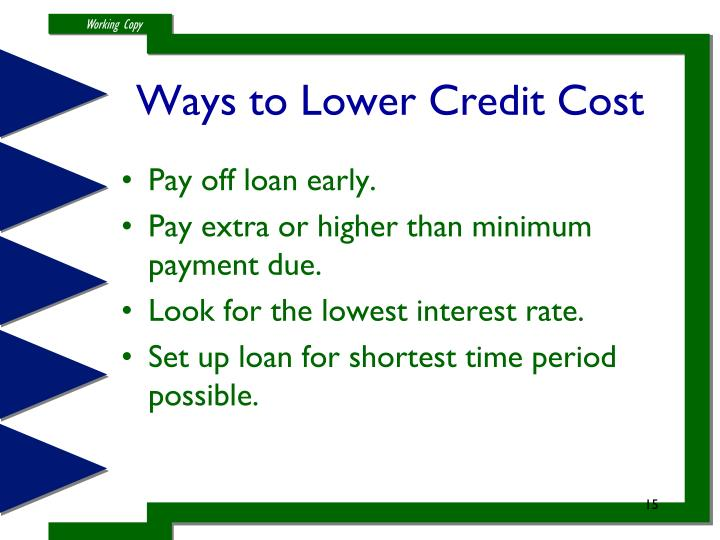 Ways to Lower Credit Cost