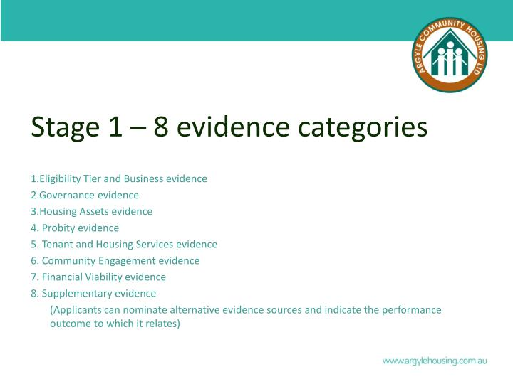 Stage 1 – 8 evidence categories