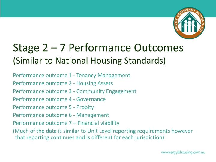 Stage 2 – 7 Performance Outcomes