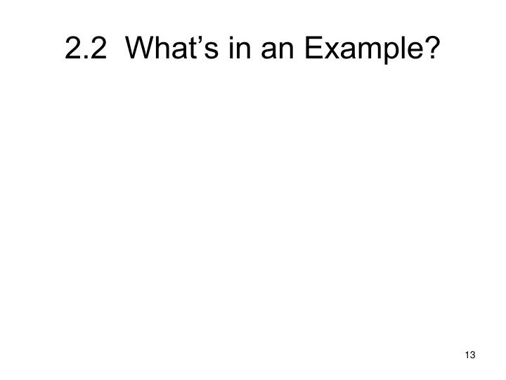 2.2  What's in an Example?