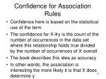 confidence for association rules