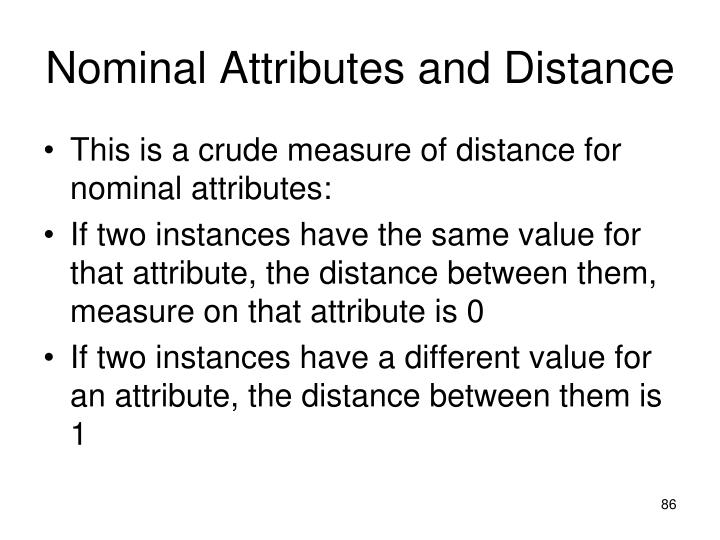 Nominal Attributes and Distance