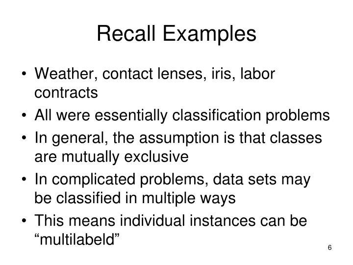 Recall Examples