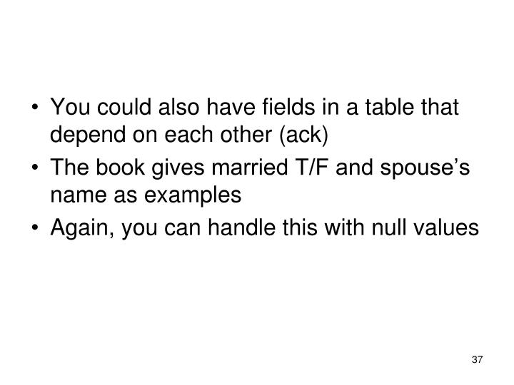 You could also have fields in a table that depend on each other (