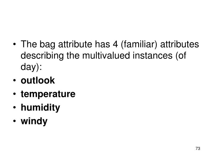 The bag attribute has 4 (familiar) attributes describing the