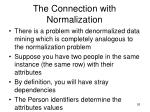 the connection with normalization