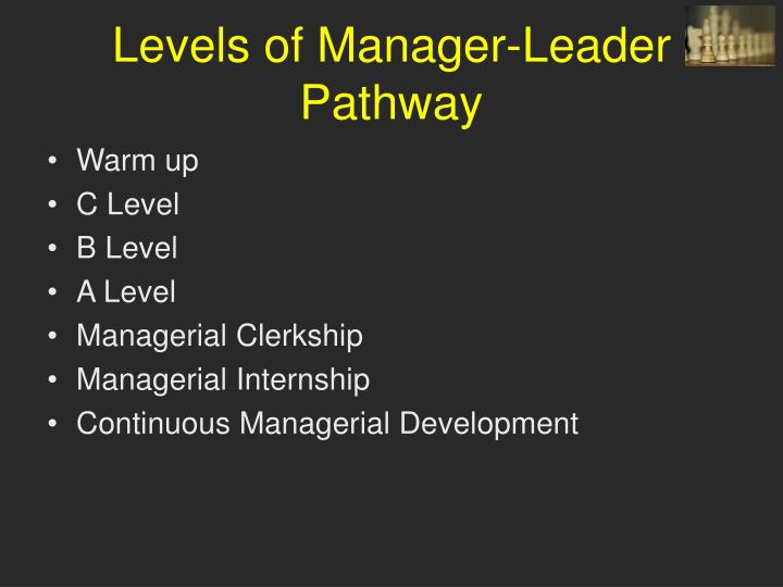 Levels of Manager-Leader Pathway