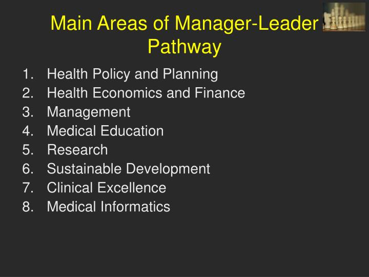 Main Areas of Manager-Leader Pathway
