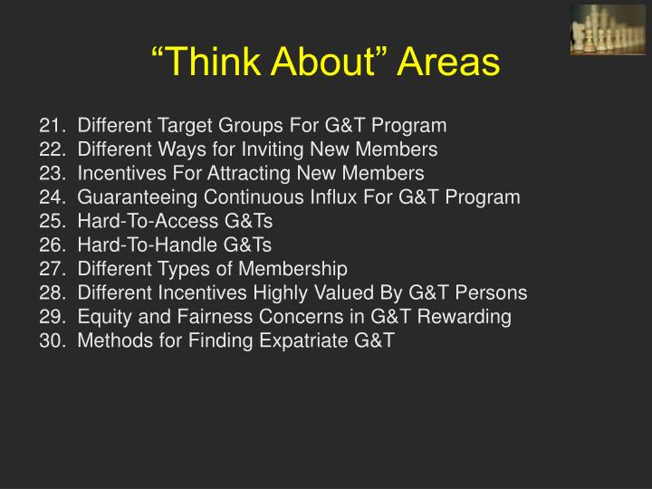 """Think About"" Areas"