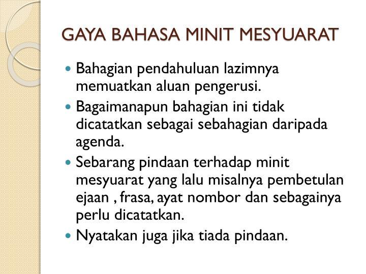 GAYA BAHASA MINIT MESYUARAT
