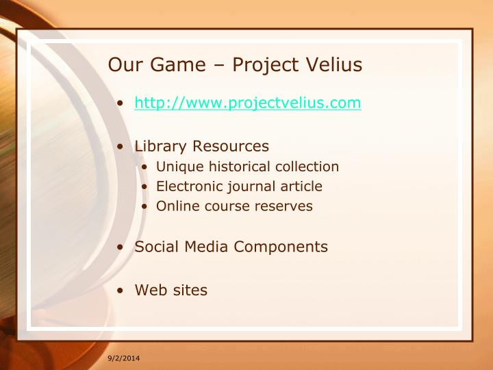 Our Game – Project Velius