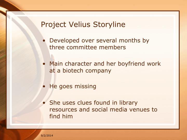 Project Velius Storyline