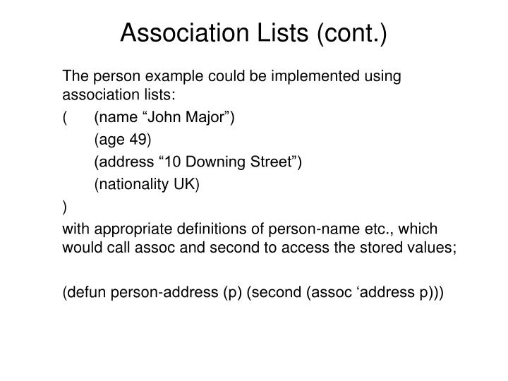 Association Lists (cont.)