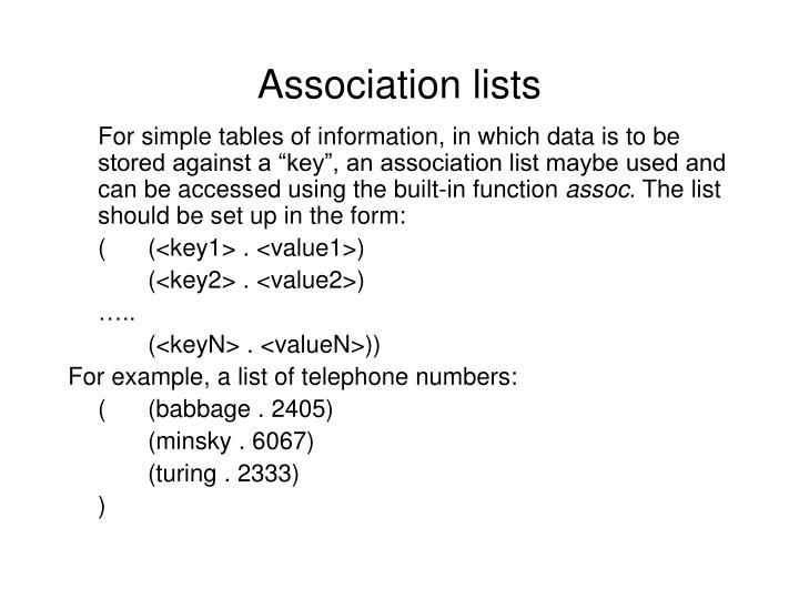 Association lists