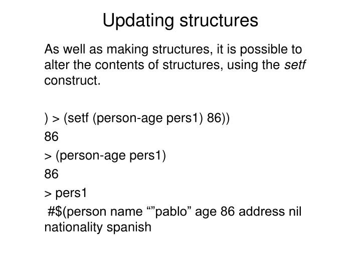 Updating structures
