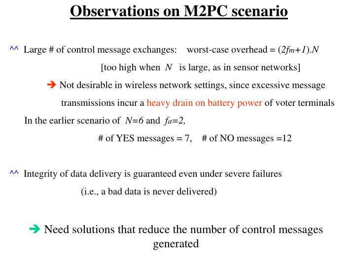 Observations on M2PC scenario
