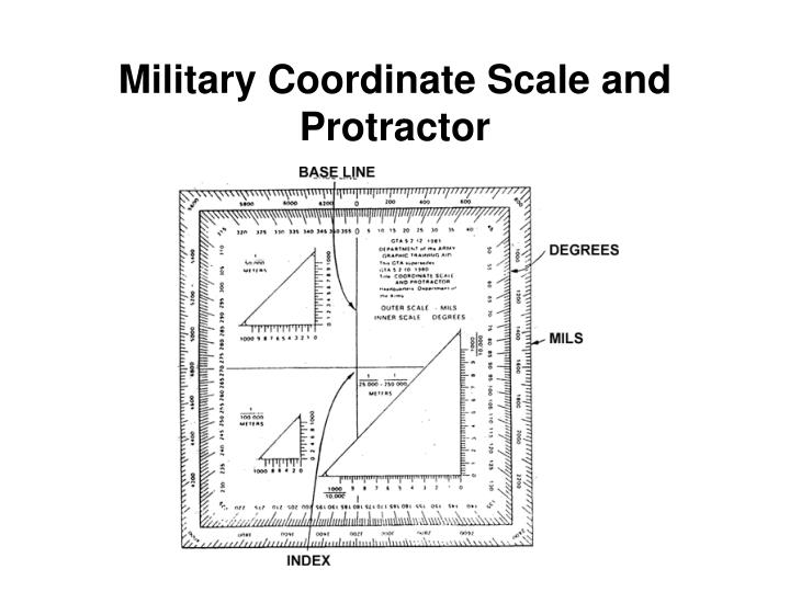 Military Coordinate Scale and Protractor