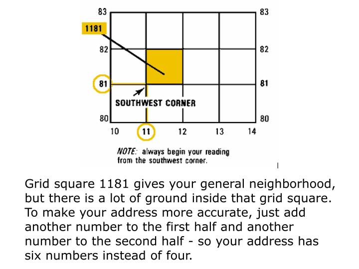 Grid square 1181 gives your general neighborhood, but there is a lot of ground inside that grid square. To make your address more accurate, just add another number to the first half and another number to the second half