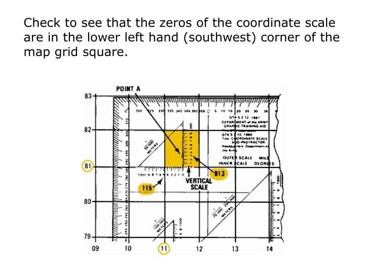 Check to see that the zeros of the coordinate scale are in the lower left hand (southwest) corner of the map grid square.