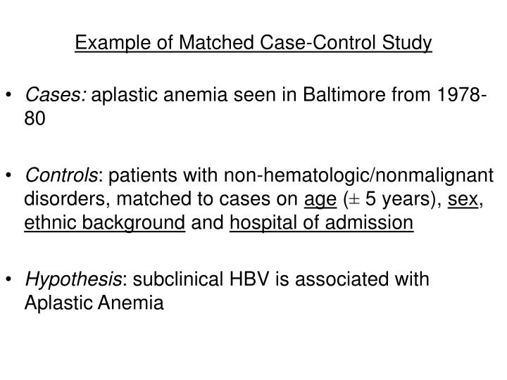 Example of Matched Case-Control Study