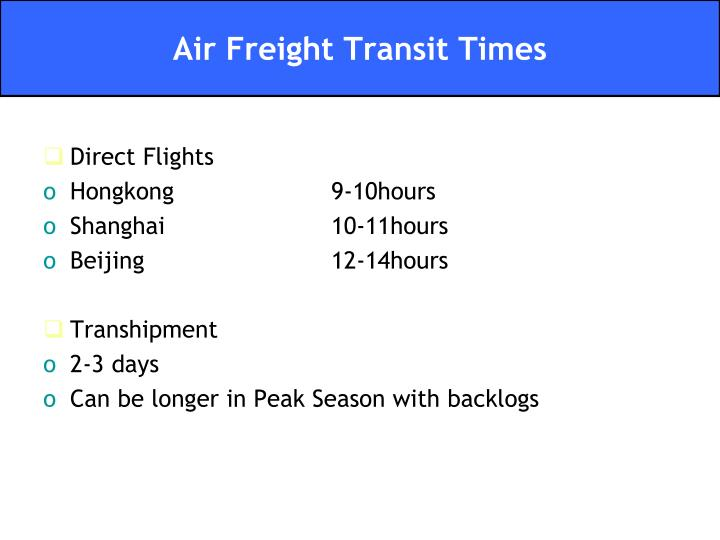 Air Freight Transit Times