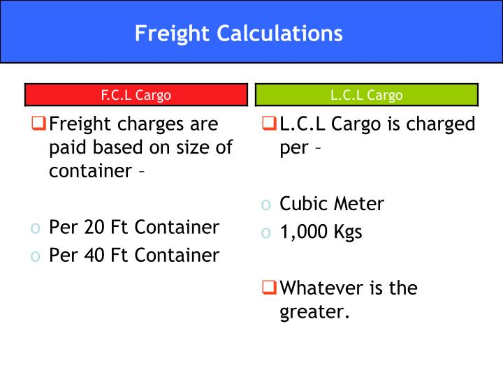 Freight charges are paid based on size of container –