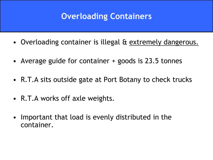 Overloading container is illegal &